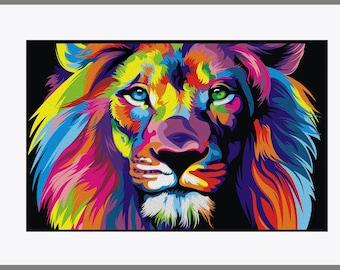 Animals Lion Head Art Silk Fabric Poster 13x20 24x36 inches Wall Decor