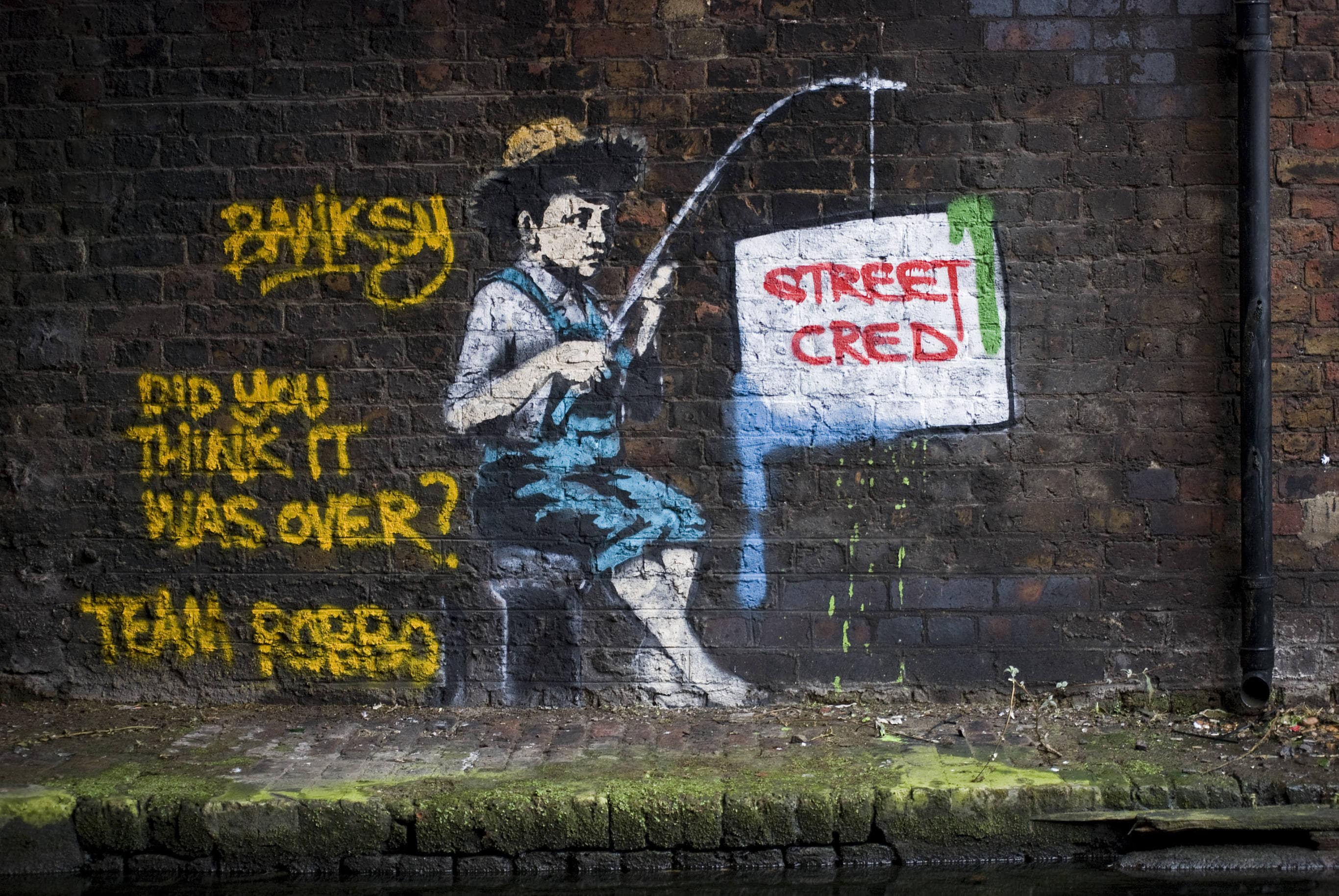 Street art graffiti canvas painting banksy robbo tags fishing camden london uk super size print stencil urban wall decor
