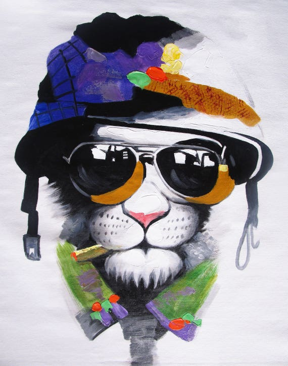 "CANVAS DOG CIGAR sun glasses ART PRINT PAINTING BIG MAFIA  80cm 32/"""