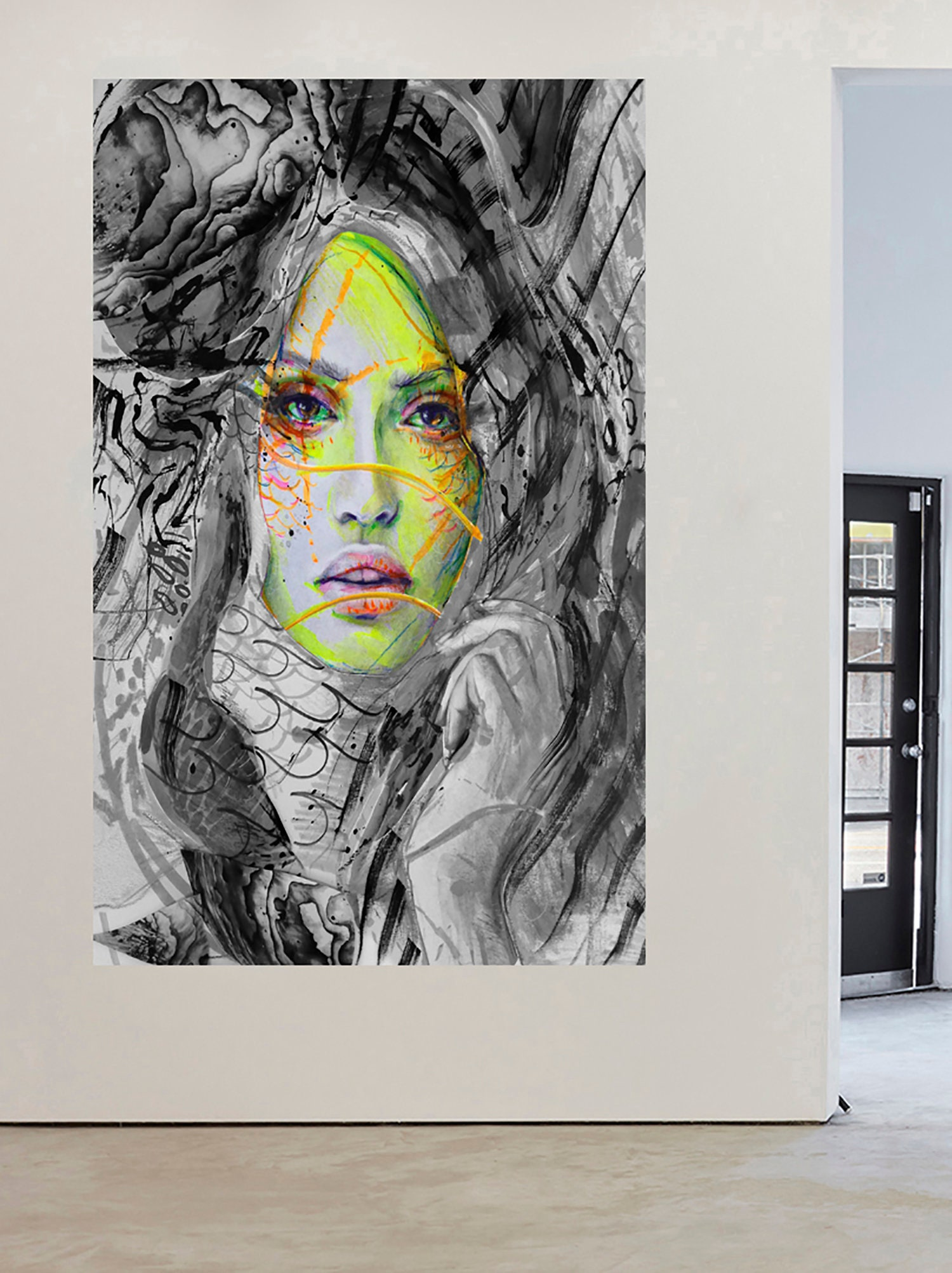 Art  Painting Street Canvas Urban Princess Girl Face framed hand painted
