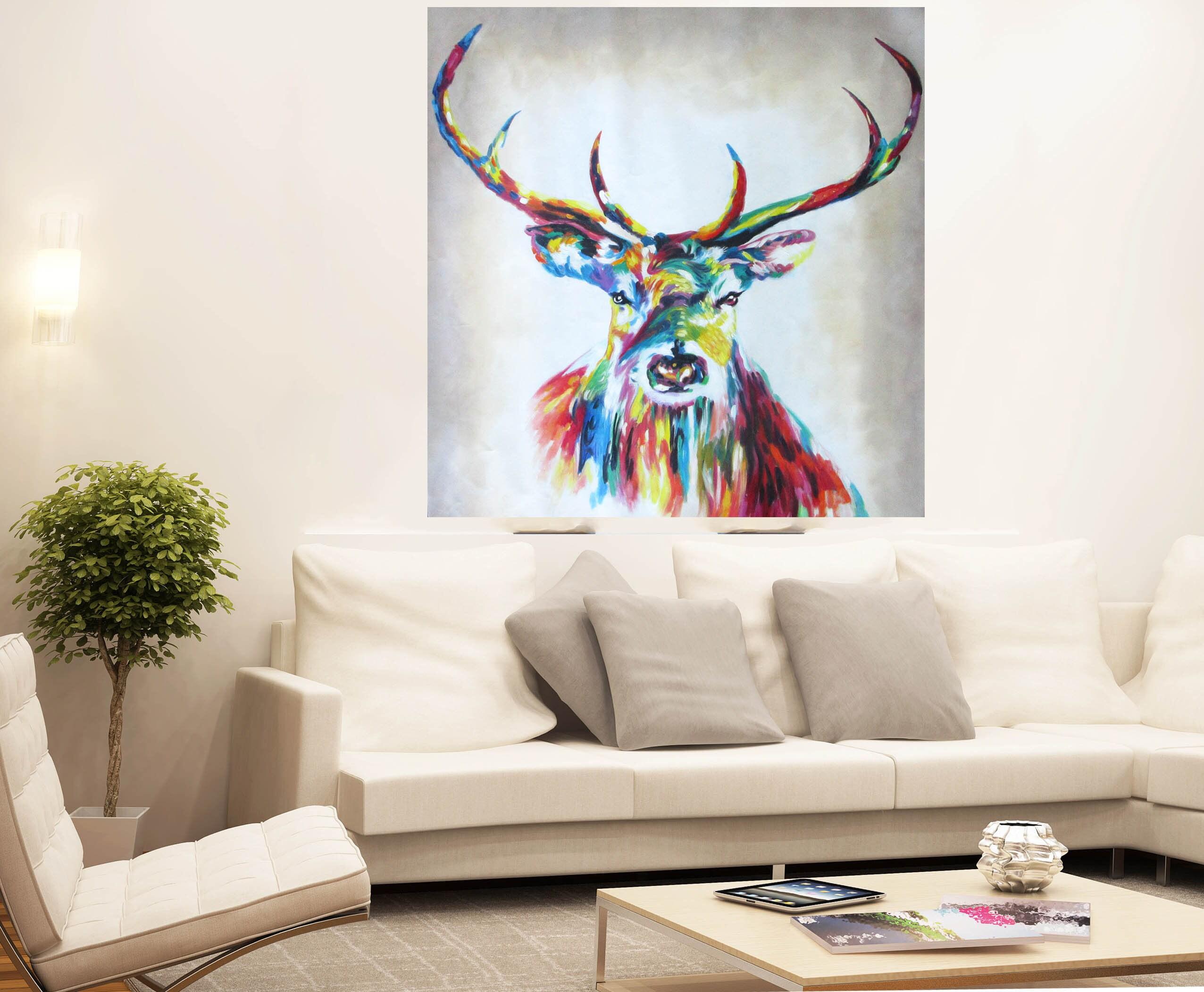 Graffiti Street Art Stag deer Moose Print Large Canvas Painting Australia