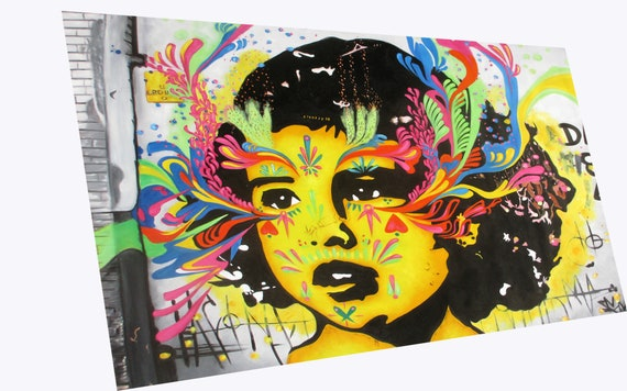 A0 SIZE CANVAS PRINT SOUTH AMERICAN URBAN STREET ART  GRAFFITI painting