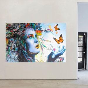 Art  Painting Street Canvas print Urban Princess Girl Face framed RAINBOW hair