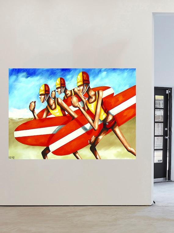 art Surf Girls Surfing Boards Australia Beach  Andy Baker COA poster painting