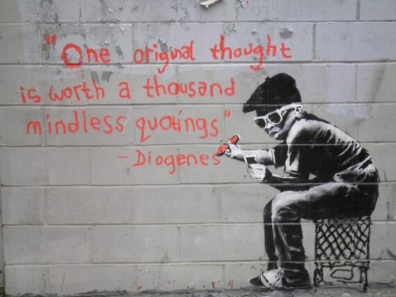 Australia BANKSY style Graffiti Street A1  canvas painting graffiti quote girl