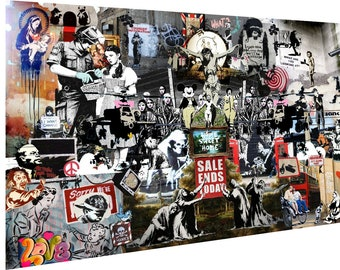 banksy Framed  canvas Street art Graffiti  abstract Print Stencil Urban  painting wall mural montage