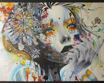 original street Art Painting Urban Custom Graffiti Stencil  wall decor Huge girl face  artwork  by Pepe