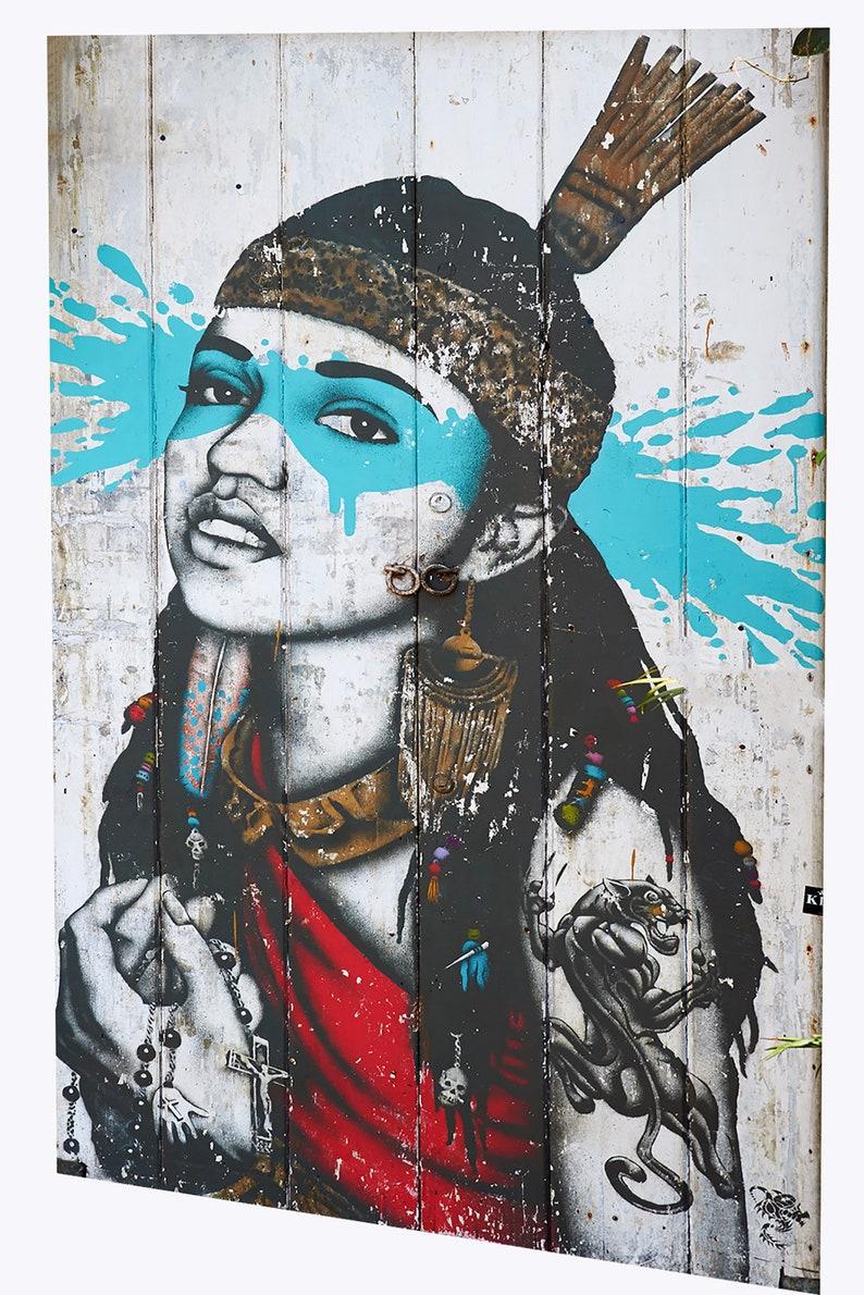 Framed Canvas Banksy style stencil girl face  street art graffiti urban painting