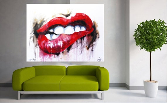 street  art painting print signed Andy Baker Beach Australia red lips mash