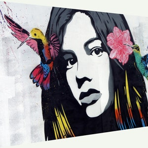 Banksy Framed Canvas Street  graffiti Urban  Art Print rat tight rope painting
