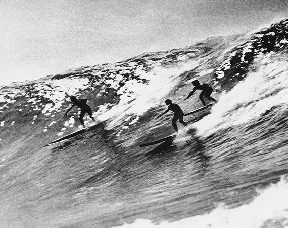 Surfing waves Vintage  Art Print Poster For Glass Frame Black White long Boards