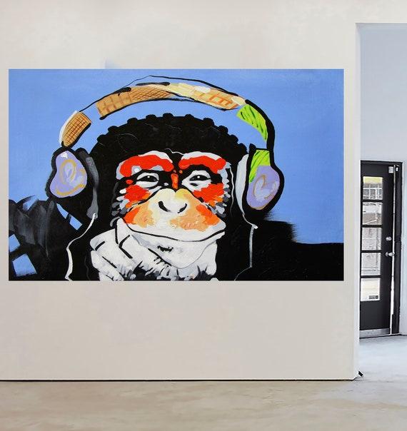 "24/"" Framed Canvas Print  monkey Dj ape chimp Banksy style Street Art wall  decor"