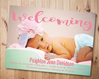 Printable Welcoming Girls Birth Announcement