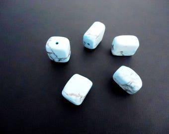 5 beads in dyed howlite rectangular gemstones, Howlite Turquoise