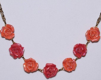 Springtime Collection/Roses in Bloom/Variations of Dark Peach/Coral Roses Necklace Set