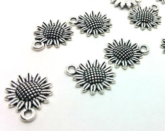 x 1 charm - flower summer sunflower - silver metal