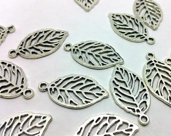Silver x 1 - spring autumn foliage - metal filigree leaf - charm jewelry customization