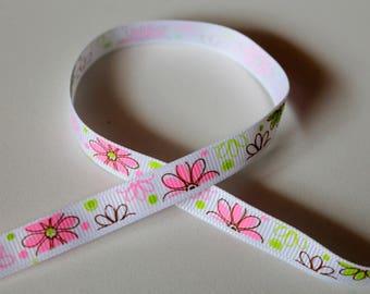 Ribbon grosgrain Ribbon - Meadow Flowers spring Nature - 10mm sewing Scrapbooking Cardmaking.