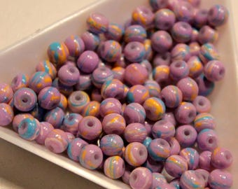 x 10 4 mm - blue and orange marbled purple beads - glass