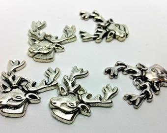 X 1 charm - Reindeer deer Christmas winter Reindeer Winter Xmas - silver