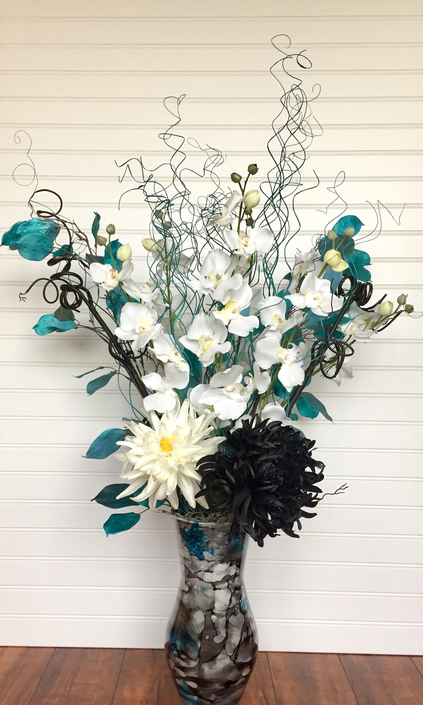 Modern silk flower arrangement contemporary floral etsy zoom izmirmasajfo