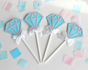Set of 5-Blue Diamond Cake Toppers-Bridal shower, Wedding, Engagement, Birthday