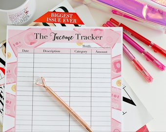 The Income Tracker Pink Bills Printable-Budget Planner, Financial Planner, Letter US, A4, A5, A6