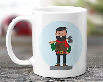 Lumberjack Mug, Woodsman Christmas Mug, Hipster Gifts, Gift For Boyfriend, Mountain Man, Gift For Guys, Gift For Husband. 2094