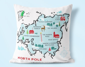 North Pole Map Pillow, Christmas Throw Pillow, Retro Christmas Decor, Kid'S Room Decor, Holiday Home Decor, Christmas Decoration.
