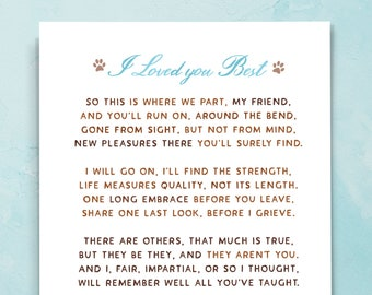 Pet Loss Sympathy Card, Pet Grief, Loss Of Dog, Loss Of Cat, Pet Lover Condolences, I Loved You Best Poem, Dog Lover, Cat Lover. E112