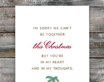 Can't Be Together Christmas Card, Missing You Christmas Card, Christmas Empathy Greeting Card, Encouraging Christmas, Thinking Of You. C414