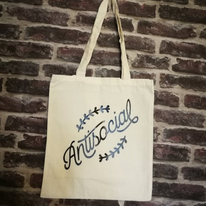 Funny tote bag antisocial funny slogan personal space image 0