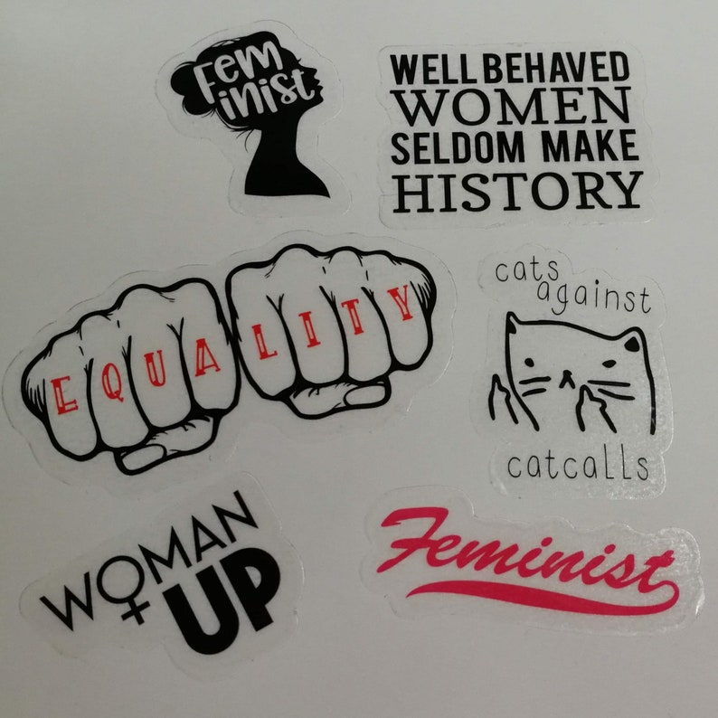 Feminist stickers Set of six feminist stickers perfect gift image 0