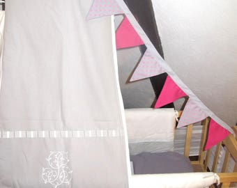 Reversible 10 fabric flags Garland - approximately 2 m