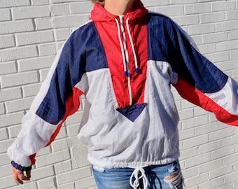 Vintage Half-Zip Hooded Windbreaker