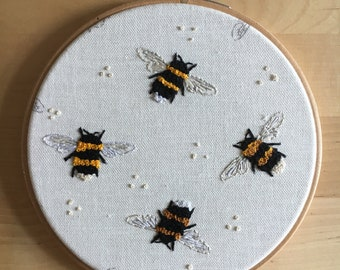 Beautiful bumblebees embroidery hoop