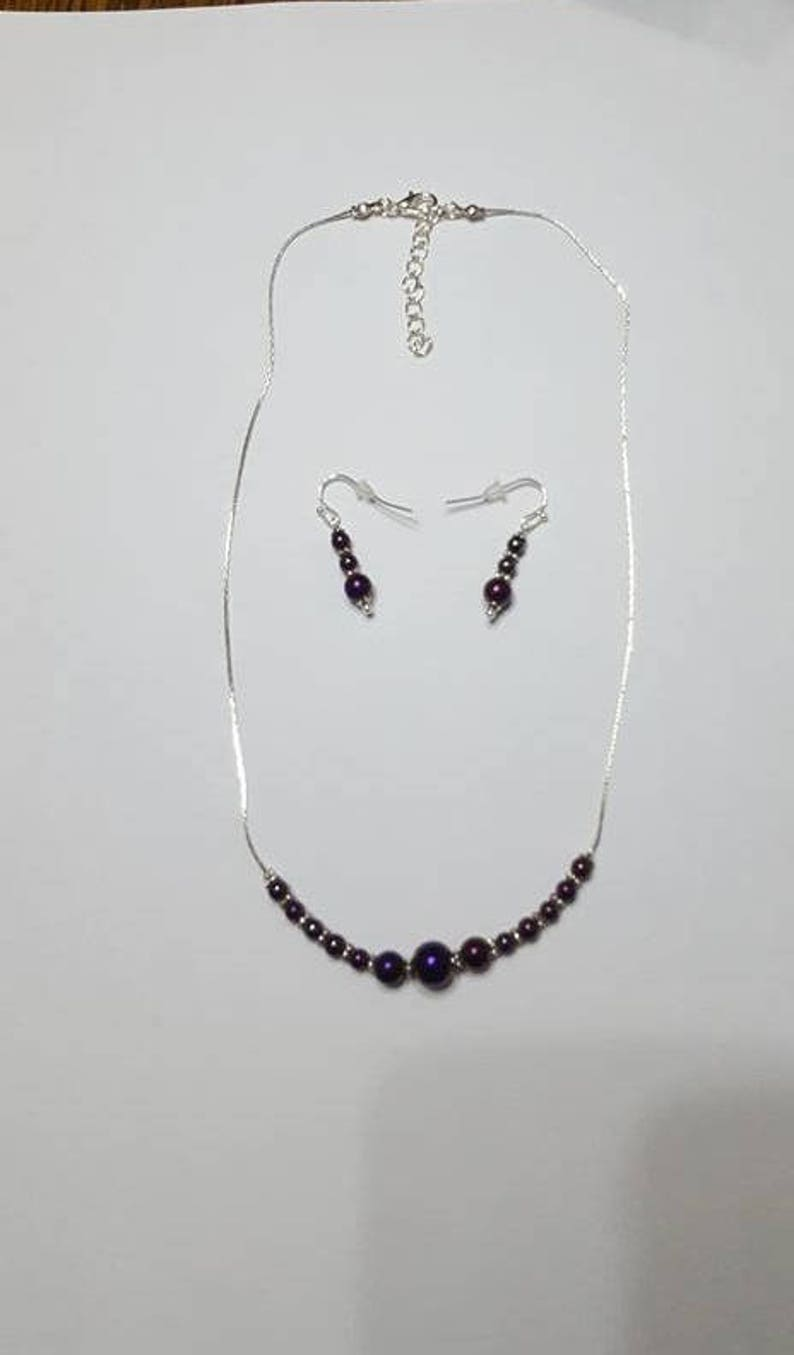 Adornment necklace and 2 Purple Hematite earrings