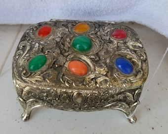Antique Silver Art Nouveau Jewelry Box with Multi Color Rainbow Stones