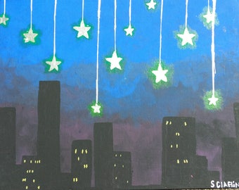 Whimsical Cityscape Painting on Canvas Board