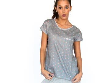 Nora Top | Gray Cotton Sleepwear Shirt
