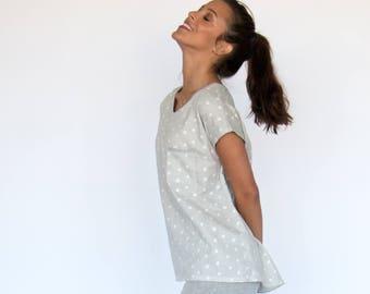 Nora Top   Natural Cotton Sleepwear Shirt