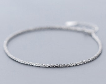 e3533e1c292 Sterling Silver Anklet, Chains Anklet, Dainty Anklet, Silver Ankle Bracelet,  For Bridesmaids Gift Jewelry #ALQ-225S2967