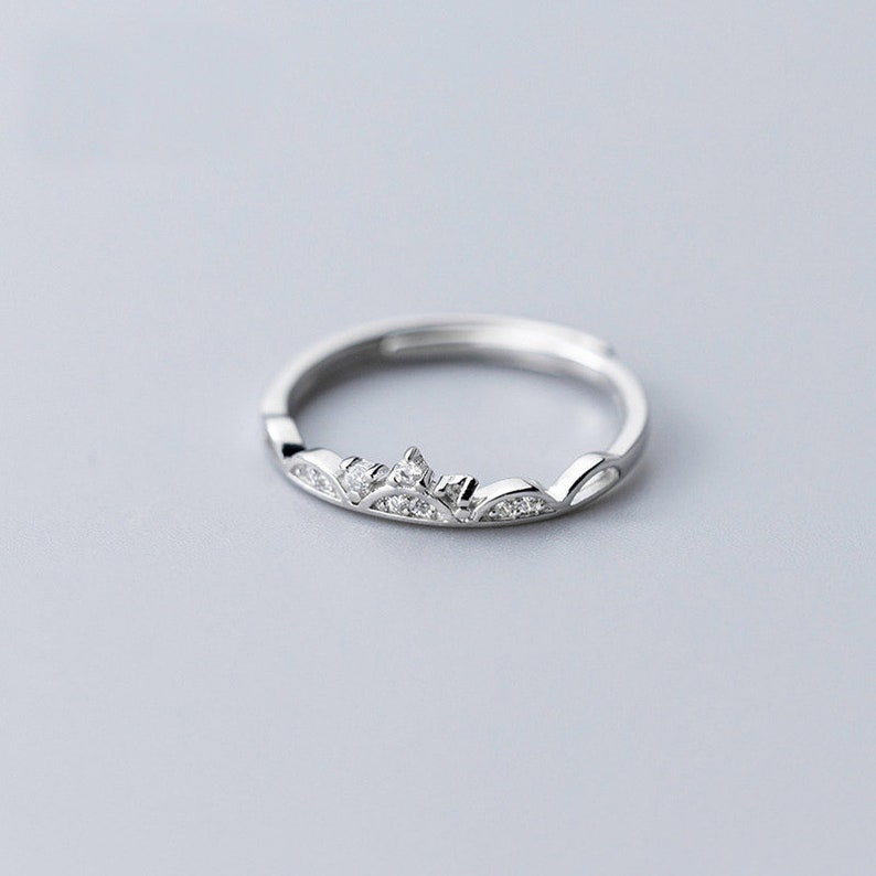 Sterling Silver Rings 925 Silver Ring For Bridesmaids Jewelry Party Gift Solid Silver Ring ALQ-14J6045 Crown Opened Ring
