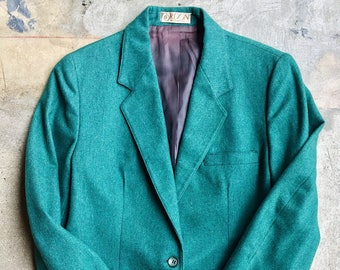 1970's teal blazer, small, free shipping, wool blend.