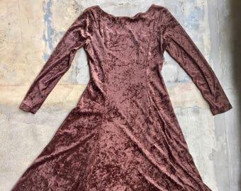 Vintage velvet brown dress, 90s vintage dress, long sleeve velvet dress, chocolate brown, FREE SHIPPING.