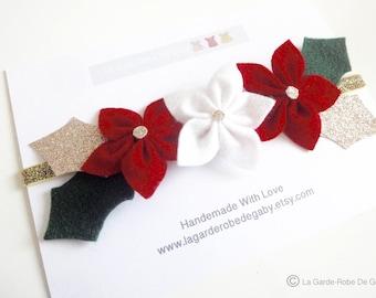 Headband/headband for girls Christmas poinsettia flower