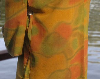 Vintage Japanese Lined Silk Haori in Soft Colors Evoking Autumn Foliage