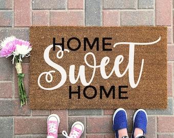 Home Sweet Home Doormat / Welcome Mat / Outdoor Rug / Spring Decor / Front Porch Decor / Housewarming Gift / Door Mat / Home Decor / Funny