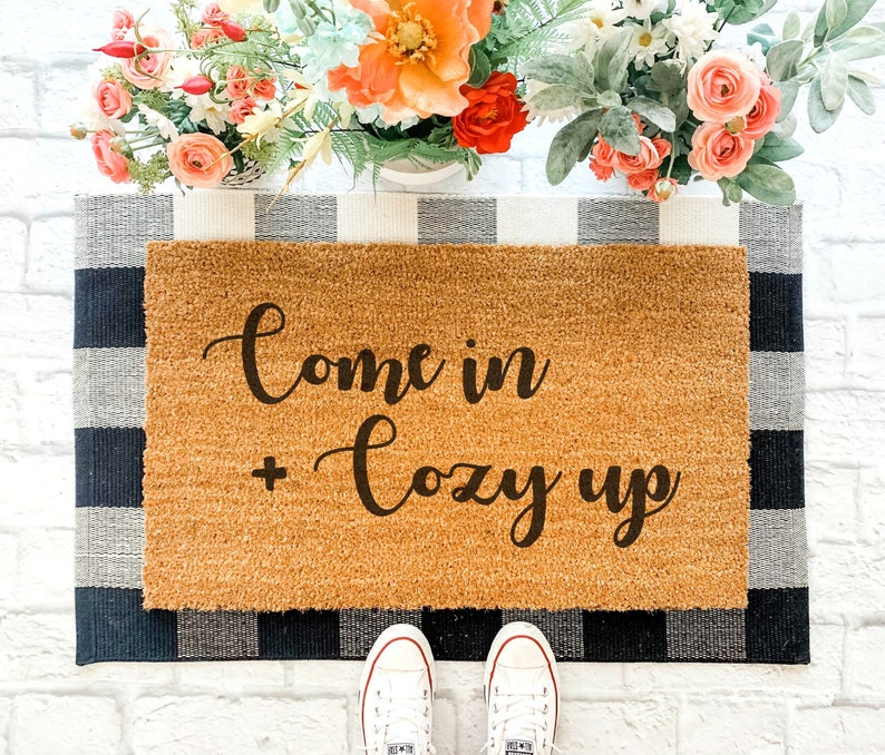 Come In  Cozy Up customized handpainted handmade doormat. #doormat #porchdecor #handmade #whimsicaldecor