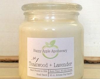 No. 1 Teakwood + Lavender Soy Candle